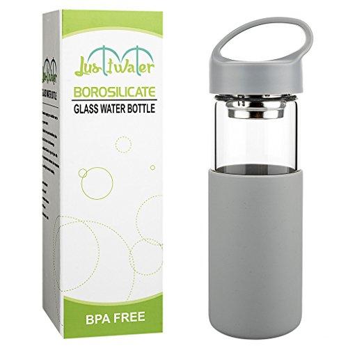 Justfwater Botella de Agua de Vidrio de Borosilicato con Funda de Sili