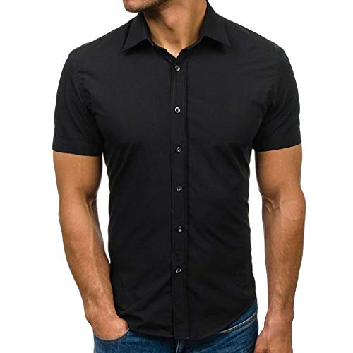 Beonzale Sommer Männer Casual Pure Color Button Spleißen Muster Lässige Revers Short Sleeve Tops Shirt Bluse