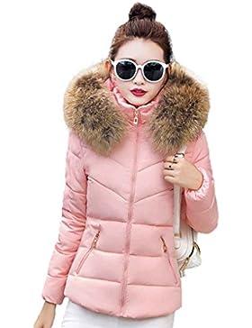 Giacche in cotone giubbotto invernale sottile con cappuccio Colletto di pelliccia con cappuccio