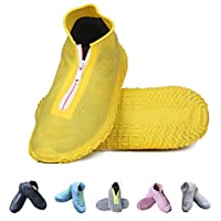 Amitafo Reusable Silicone Waterproof Shoe Covers Foldable Not-Slip Rain Shoe Cover with Zipper Shoe Protectors Overshoes Rain Galoshes for Kids Men and Women