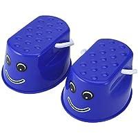 Funnyrunstore Herramienta de entrenamiento de equilibrio de plástico al aire libre 2 PCS Juguetes de zancos de salto Portátil Sonrisa Zapatos de balance de cara para niños (azul)