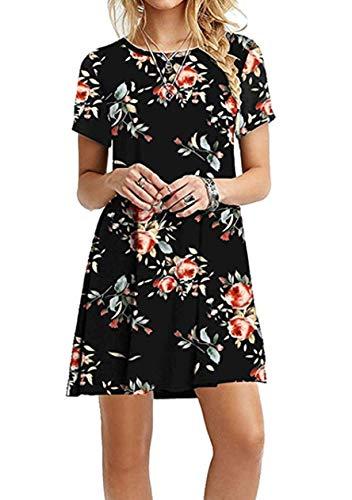 OMZIN Damen Casual Langes Shirt Lose Tunika Kurzarm T-Shirt Kleid Sommer Kleider Minikleid,Schwarz Rosenblüten,XS