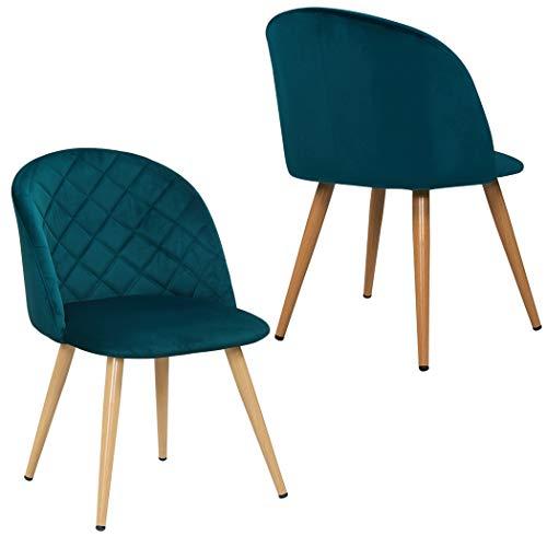 Duhome 2er Set Esszimmerstuhl aus Stoff SAMT Petrol Blau Grün Stuhl Retro Design Polsterstuhl mit Rückenlehne Metallbeine Farbauswahl 8052B
