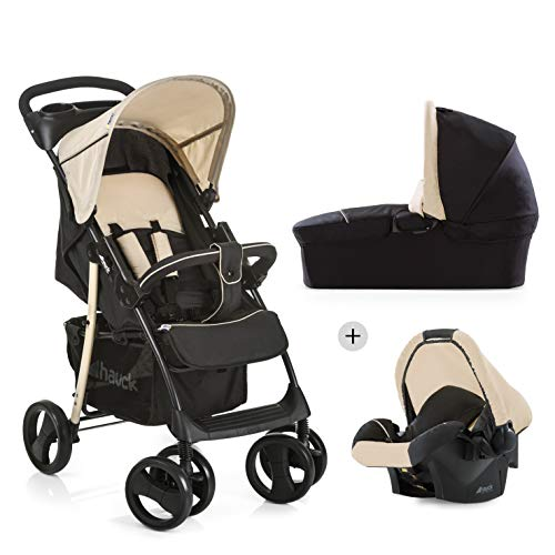 *Hauck Shopper SLX Trio Set/Kombi 3 in 1 Kinderwagen/Babyschale/Sportwagen, Gr. 0, Babywanne mit Matratze, bis 25 kg, Liegefunktion, Getränkehalter, leicht, klein faltbar, Caviar/Beige*
