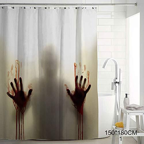 Guajave Halloween Duschvorhang Polyester Fenster Vorhänge mit blutigen Händen für Halloween Badezimmer, 1, 150cmx180cm