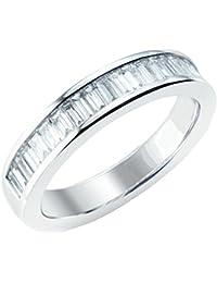 F/VS 1.00ct Baguette diamantes Chennel Set Half Eternity anillo en platino