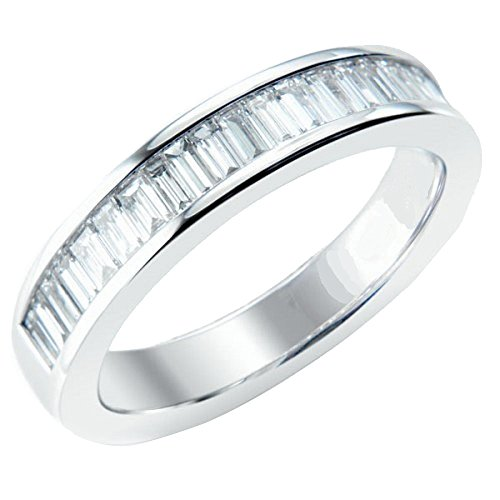 Baguette, 1,50 ct Half Eternity con diamanti incastonati a canale, in platino, Platino, 12, cod. (Diamante Dei Canali Band Ring)