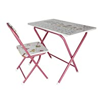 Kids folding study table and chair set, Pink [ET-3678]