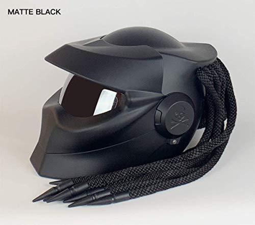 Casco Moto Predator Scorpion Casco Guerriero Extraterrestre con LED Lampada, Casco Integrale con Patta Frontale, Casco Certificato DOT ECE, Quattro Stagione, Casco da Cross-Country,Grigio,M