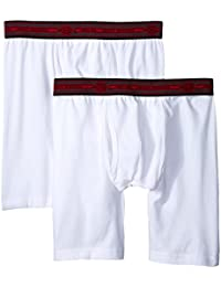 Dickies Men's 2 Pack Cotton Performance White Long Leg Boxer Brief
