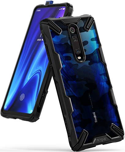 Ringke Fusion-X DDP Kompatibel mit Xiaomi Mi 9T, Mi 9T Pro Hülle, Schlagfeste Transparente Rückseite mit TPU Rahmen - Camo Black
