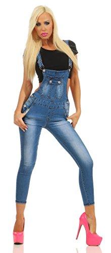 Fashion4Young Damen Jeans Latzhose Latz Jeans Träger Röhrenjeans Knöchellang Stretch Slim-Fit (10939-blau, S-36) -
