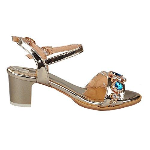 Blocchi Lavora Uh Sandali 5cm Per Caviglia Cinghia Oro Della Talloni Donne Aperti Parte Punta Con E Rhinestones AqFXfwqZ