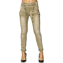 Elara Mujer Jeans | Botones | Cremallera | Chunkyrayan C613-F6 Khaki 38/M