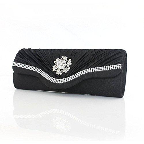 Frauen Seide Bedeckt Damen Abendtasche Neue Mädchenhandtasche Black
