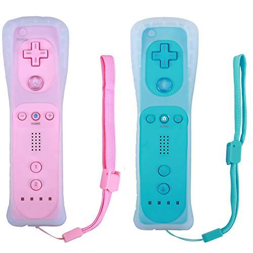 Poulep Kabelloser Controller für Nintendo Wii/Wii U Konsole mit Silikonhülle und Handgelenkschlaufe Blau/Pink