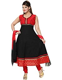 6bca75fde9 Divinee Black And Red Color Readymade Cotton Anarkali Churidar Suit For  Women With Brocade Lace And