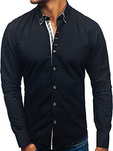 BOLF Hombre Camisa De Manga Larga Cuello Americano Camisa de Algodón Slim fit Estilo Casual 3762 Negro...