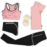 Blancho Bedding 4 Piezas Aptitud de los Deportes Conjunto Yoga del Entrenamiento Deportivo Bra Pantalones de Las Mujeres Polainas Set