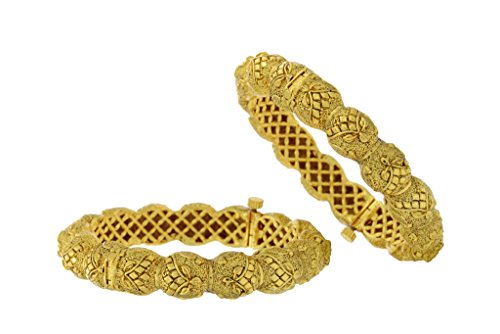 BEAUTIFUL ANTIQUE GOLDEN KADA FROM HYDERABAD JEWELS (2.6, BANGLE SIZE)