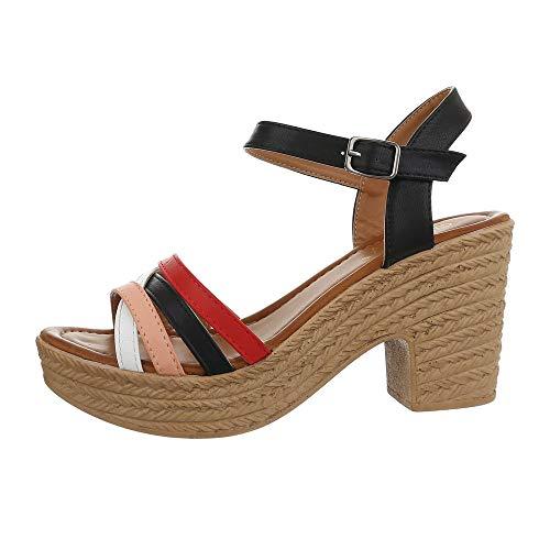Ital-Design Damenschuhe Sandalen & Sandaletten High Heel Sandaletten Synthetik Schwarz Multi Gr. 40 Beige Damen Schuhe