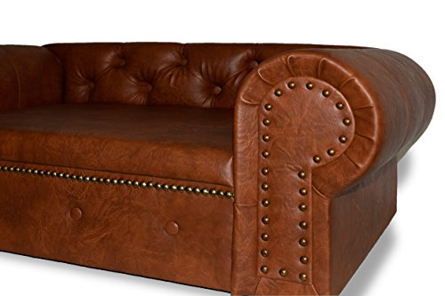 Hundesofa Hundebett Edy-Ohio Lux XL Büffelleder Imitat Antik Brandy Couch - 5