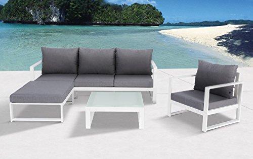 """Aluminium Lounge """"Bella White"""", flexibel einsetzbar mit wasserabweisender Kissen, Mandalika Garden"""
