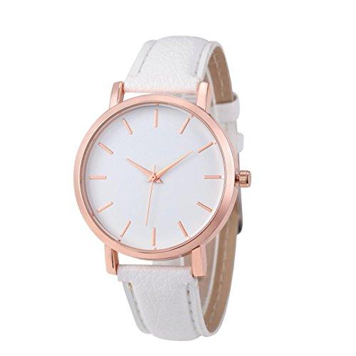LSAltd Frauen Mädchen Klassische Uhr rostfreie Lederne Band analoge Armbanduhr Art und Weisequarz Uhr (Weiß) -