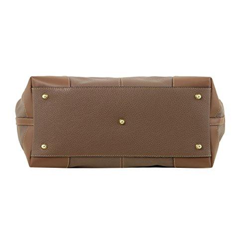 Tuscany Leather Ambrosia - Sac en cuir souple avec bandoulière Taupe foncé Sacs à main en cuir Taupe foncé