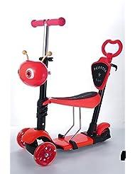 Nuevo 5en 1Patinete con luz Up–Juego de ruedas para bebés niños Kids- 100% garantía de devolución del dinero, rojo