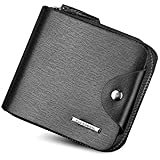 Fuerdanni Men Fashion Multifunction Leather Short Wallet Zipper Bag Card Package Purse Qb51C Black