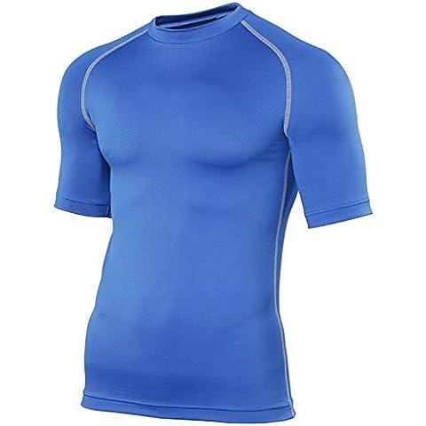 Rhino adultos camiseta de manga corta capa base, mujer hombre unisex, azul cobalto, L / XL