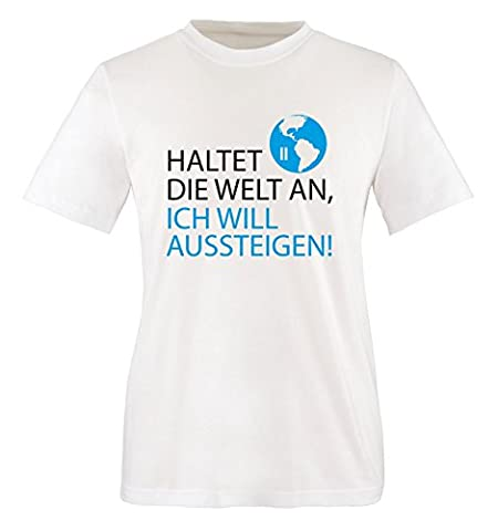 Comedy Shirts - Haltet die Welt an, ich will aussteigen! - Herren T-Shirt - Weiss / Schwarz-Blau Gr. XXL