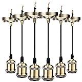 GreenSun LED Lighting Retro 6stk. Bronze Edison E27 Alu alloy Lampenfassung mit 1.2M Kabel Deckenfassung Fassung Socket Lampenfuss Vintage Halter für Hängeleuchte