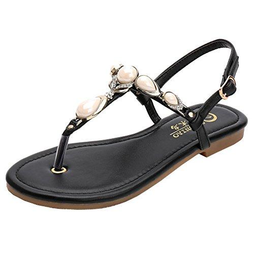 SUNAVY , Escarpins peep-toe femme Noir