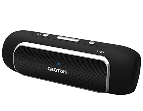 AZATOM Storm - Powerful Bluetooth 4.0 Portable Speaker With NFC - Dual Drivers - Twin Bass Woofers - 24W - 24Hrs Playtime - Black (Certified Refurbished)