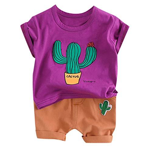 aiyvi 6-24 Monate Kinder Kurzarm Cartoon Kaktus T-Shirt+Shorts mit bedrucktem 2-Teiler für Baby Jungen,Baumwollmischung,Bequem (Niedliche Kaktus Kostüm)