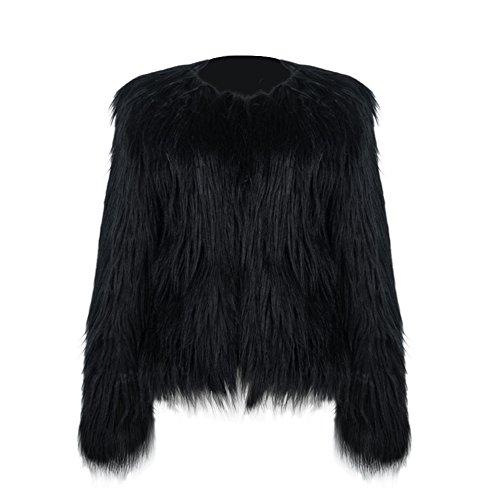 Beauty7 Damen Winter Langarm Plüschjacke Elegant Outwear Steppjacke Warmen Kurzmantel Strickjacke Shirtjacke - Farbe: Schwarz - Größe: EU 40 (Überprüfen Lammwolle)