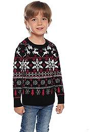 Aibrou Jerséis de Navidad Familia Manga Larga Jersey Navideño para Niño Niña Suéter para Mujer Hombre Invierno Pullover de Punto