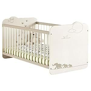 Lit bébé en MDF, Coloris blanc motif jungle, 67 x 90 x 123.4 cm -PEGANE-