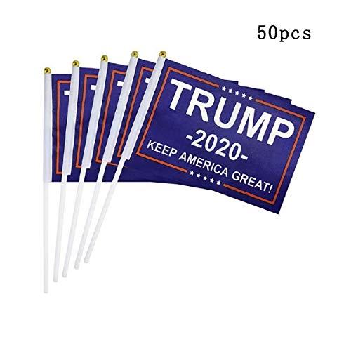 Happyshop 18 50 mini bandierine americane manuali, donald trump 2020 keep america grande bandiera per il giorno dell'indipendenza americana