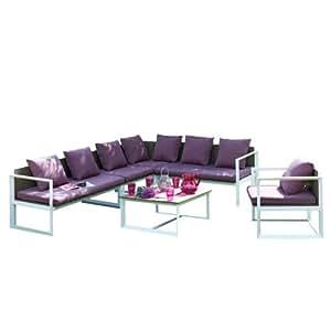 Flowuzz garden salon de jardin 5 7 places alu melia for Salon de jardin amazon