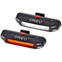 ONEU Fahrradbeleuchtung, STVZO Fahrrad Rücklicht und Frontlicht, 100 Lm Wiederaufladbare LED Wasserdicht Sport Fahrradlicht 6-Modus (2 USB-Kabel &2 Lampe)