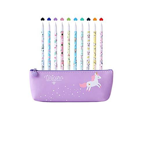 Unicorno Penne,Southstar 10 Unicorno Penne di Colori e 1 Astuccio per Matita Unicorno per Amanti dei Fenicotteri e Degli Unicorno, un Ottimo Regalo x una Bambina (porpora)