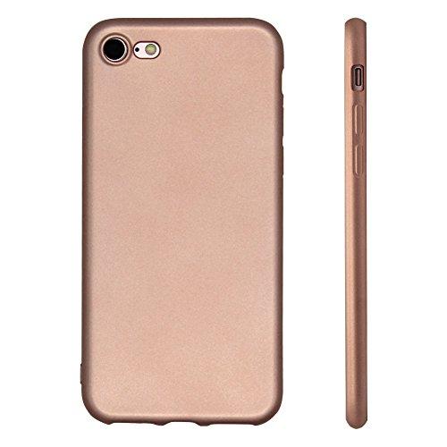 Pridot Metallico Vernice Morbido Custodia per iPhone 7 TPU Case Matte Rivestimento Liscio Flessibile Protettivo Cover Leggera Silicone Bumper - Blu Oro Rosa