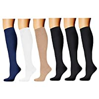 HARAVAL Compression Socks for Women & Men 20-30 mmHg - Best Graduated Stockings for Running Cycling Basketball Athletic Hiking Nurse Medical Edema Travel Pregnancy 3-6 Pairs - - S/M