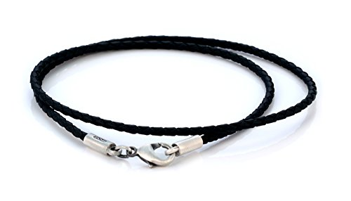 Bico Herren 2mm Schwarzes Geflochtenes Halsband 55cm Lang (CL12 Schwarz 55cm)