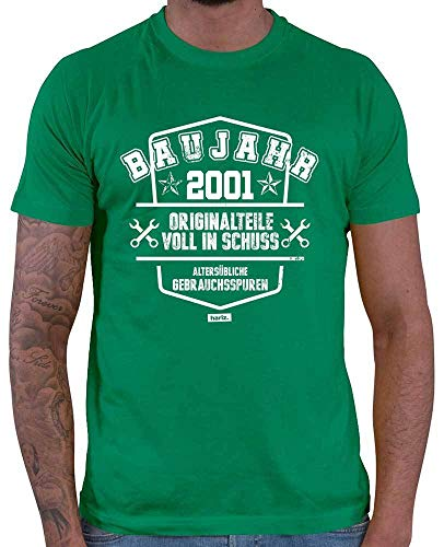 HARIZ  Herren T-Shirt Baujahr 2001 Originalteile Voll In Schuss 18 Geburtstag Volljährig Achtzehnter Plus Geschenkkarte Grün XXL