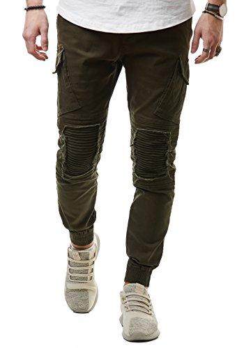 EightyFive Herren Jeans Cargo-Hose Stoff Slim Fit Destroyed Zerrissen Gerippt Schwarz EF7618