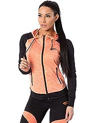 SMILODOX Kapuzenpullover Damen | Zip Hoodie für Sport Fitness Training & Freizeit | Trainingsjacke - Sportpullover - Sweatjacke - Kapuzenpulli mit Reißverschluss